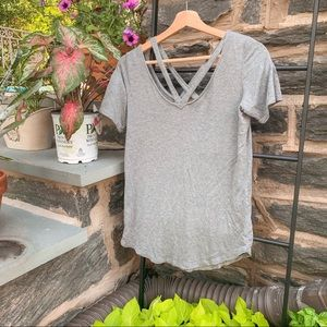 🐘 Garage Basic Soft Grey Tee w/ Crisscross Neck